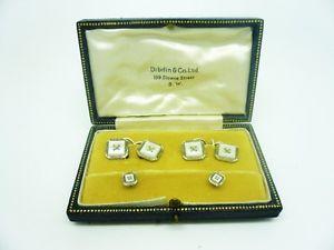 【送料無料】メンズアクセサリ― パールカフリンクスゴールドスタッドアールデコ9ct gold mother of pearl cufflinks amp; stud set, art deco, cased, c1930, white