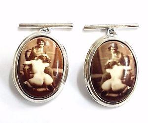 【送料無料】メンズアクセサリ― エナメルエロティックアーティストカフスボタンソリッドスターリングシルバーメンズクリスマスenamel erotic artist cufflinks 925 solid sterling silver mens christmas gift