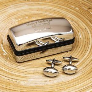 【送料無料】メンズアクセサリ― ラグビーボールパーソナライズカフスボタンセットclassic rugby ball personalised cufflinks gift set