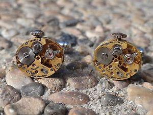 【送料無料】メンズアクセサリ― ムーブメントカフスボタンwatch movement cufflinks steampunk gears machine industrial oval gold