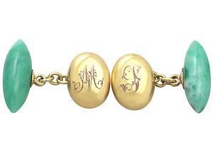 【送料無料】メンズアクセサリ― イエローゴールドカフスボタンアンティークjade and 15 ct yellow gold cufflinks antique circa 1900