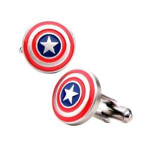 【送料無料】メンズアクセサリ― キャプテンアメリカシールドロゴステンレススチールカフリンクスcaptain america shield logo stainless steel cufflinks