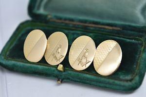 【送料無料】メンズアクセサリ― アンティークコンパスシンボルゴールドカフリンクスantique 18ct gold cufflinks with free masons compass symbol 1128g in 1905 b960