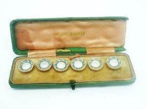 【送料無料】メンズアクセサリ― パールドレススタッドゴールドエナメルアールデコgold enamel mother of pearl dress studs, 9ct carot, art deco, c1930s