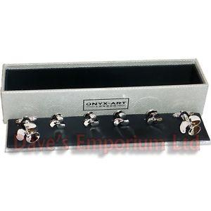 【送料無料】メンズアクセサリ― プロペラカフスボタンスタッドオニキスアートボックスドレスシャツネイビーpropeller cufflinks amp; stud set by onyx art gift boxed dress shirt navy