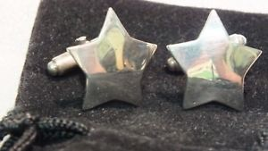 【送料無料】メンズアクセサリ― シルバースターカフリンクスカフスボタンクリスマスプレゼントfive pointed silver star hallmarked cuff links cufflinks christmas birthday gift