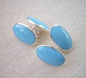 【送料無料】メンズアクセサリ― ターコイズエナメルシルバーカフリンクスstunning turquoise enamel amp; genuine silver oval cufflinks