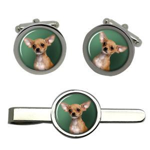 【送料無料】メンズアクセサリ― チワワタイクリップセットchihuahua dog round cufflink and tie clip set