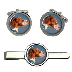 【送料無料】メンズアクセサリ― ブルターニュラウンドタイクリップセットbrittany spaniel dog round cufflink and tie clip set