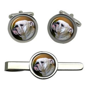 【送料無料】メンズアクセサリ― ブルドッグラウンドタイクリップセットenglish bulldog round cufflink and tie clip set