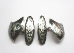 【送料無料】メンズアクセサリ― ヴィンテージサイアムカフリンクスvintage 1940s siam silver, niello cufflinks with dancing goddess