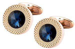 【送料無料】メンズアクセサリ― サファイアローズゴールドプレートプレゼントカフリンクスダイレクトスワロフスキークリスタルsapphire blue swarovski crystal gem in rose gold plate men gift cufflinks dire