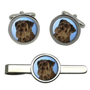【送料無料】メンズアクセサリ― ラウンドタイクリップセットcane corso dog round cufflink and tie clip set