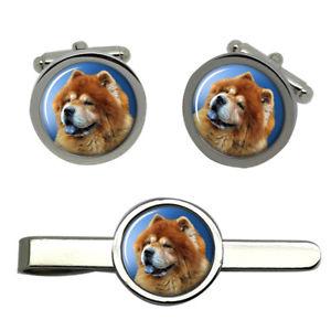 【送料無料】メンズアクセサリ― チャウチャウタイクリップセットchow chow dog round cufflink and tie clip set