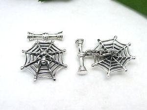 【送料無料】メンズアクセサリ― カフスターリングシルバースパイダーリンククモcuff links spider with net sterling silver 925 spider