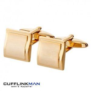 【送料無料】メンズアクセサリ― カーブスクエアカフリンクスgold plated brushed curved square cufflinks