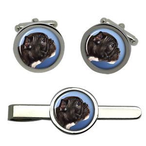 【送料無料】メンズアクセサリ― ブルドッグプロファイルラウンドタイクリップセット listingfrench bulldog profile round cufflink and tie clip set