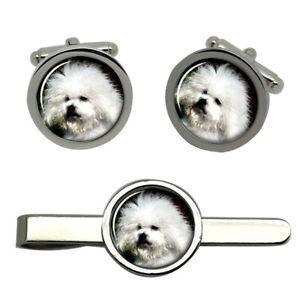【送料無料】メンズアクセサリ― ラウンドタイクリップセットbichon bolegnese dog round cufflink and tie clip set