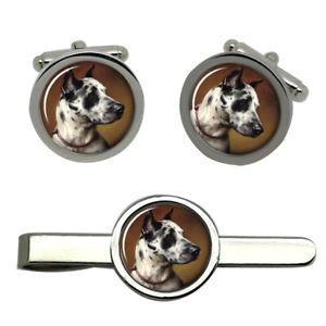 【送料無料】メンズアクセサリ― カールタイクリップセットグレートデーン listingspotty great dane by carl reichart round cufflink and tie clip set