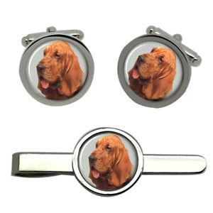 【送料無料】メンズアクセサリ― ブラッドハウンドタイクリップセットbloodhound dog round cufflink and tie clip set