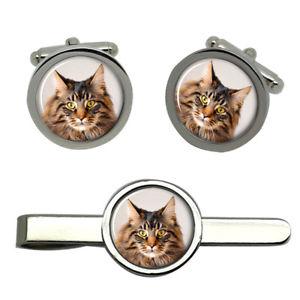 【送料無料】メンズアクセサリ― メインクーンタイクリップセットmaine coon cat round cufflink and tie clip set