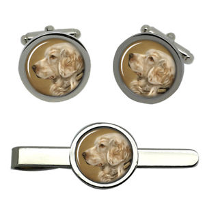 【送料無料】メンズアクセサリ― ラウンドタイクリップセットclumber spaniel dog round cufflink and tie clip set