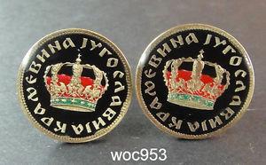 【送料無料】メンズアクセサリ― ユーゴスラビアエナメルパターンコインカフリンクスディナールクラウンホテル1938 yugoslavia enamelled coin cufflinks dinar crown choice of pattern