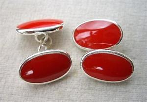 【送料無料】メンズアクセサリ― エナメルアンプカフリンクスstunning rich red enamel amp; silver oval cufflinks