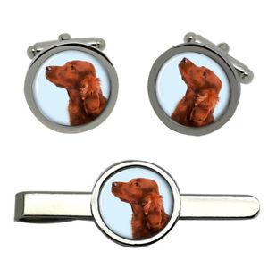 【送料無料】メンズアクセサリ― アイリッシュレッドセッタータイクリップセットirish red setter dog round cufflink and tie clip set