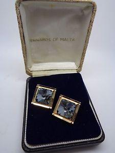 【送料無料】メンズアクセサリ― メンズボックスカフスボタンマルタゴールドトーンメタルクリスタルmens boxed cufflinks bernards malta gold tone metal crystal party prom wedding