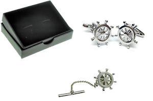 【送料無料】メンズアクセサリ― ホイールカフスボタンカフリンクスノベルティータイボックスsailors nautical ships wheel cufflinks cuff links novelty gift tie tac box