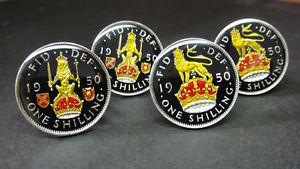 【送料無料】メンズアクセサリ― コインカフスボタンスコットランドシリングライオン1947 1951 british coin cufflinks english or scottish shilling lion