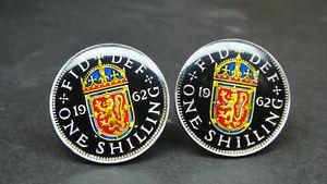 【送料無料】メンズアクセサリ― コインカフスボタンシリングスコットランド1953 1966 british coin cufflinks shilling scottish arms