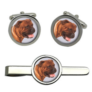 【送料無料】メンズアクセサリ― ラウンドタイクリップセットbullmastiff dog round cufflink and tie clip set