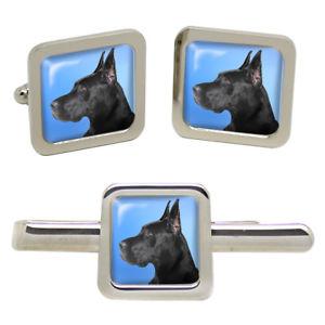 【送料無料】メンズアクセサリ― グレートデーンタイクリップセットgreat dane dog square cufflink and tie clip set