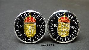 【送料無料】メンズアクセサリ― コインカフスボタンスコットランドシリングfrom 1953 to 1966 british coin cufflinks english or scottish shilling arms