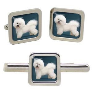 【送料無料】メンズアクセサリ― タイクリップセットbichon frise dog square cufflink and tie clip set