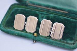 【送料無料】メンズアクセサリ― ビンテージアールデコスターリングシルバーエンジンオンデザインカフリンクスvintage art deco sterling silver cufflinks with an engine turned design b430