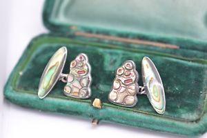 【送料無料】メンズアクセサリ― ビンテージアールデコアワビスターリングシルバーカフリンクスvintage art deco sterling silver cufflinks with an abalone insert b486