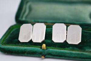 【送料無料】メンズアクセサリ― ビンテージスターリングシルバーアールデコデザインカフリンクスvintage sterling silver cufflinks with an art deco design b117