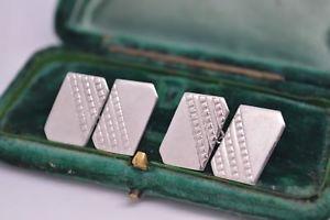 【送料無料】メンズアクセサリ― ビンテージアールデコエンジンオンデザインスターリングシルバーカフリンクスvintage art deco sterling silver cufflinks with an engine turned design b431