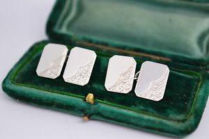 【送料無料】メンズアクセサリ― ビンテージスターリングシルバーアールデコデザインカフリンクスvintage sterling silver cufflinks with an art deco design b112