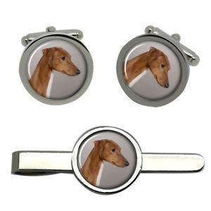 【送料無料】メンズアクセサリ― azawakhハウンドドッグラウンドカフスリンクネクタイピンセットazawakh hound dog round cufflink and tie clip set