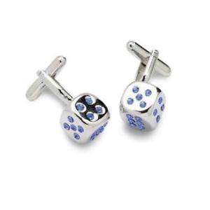 【送料無料】メンズアクセサリ― サファイアスワロフスキーカフスリンクsapphire dice shaped cufflinks featuring swarovski crystals