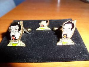 【送料無料】メンズアクセサリ― サダムフセインカフスリンクlapelpinセットイdead saddam hussein cufflink lapelpin sets, gulf iraq