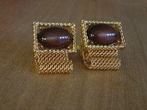 【送料無料】メンズアクセサリ― スマートビンテージメッシュカフスボタンsmart vintage wrap around mesh cufflinks goldtone with brown stone setting