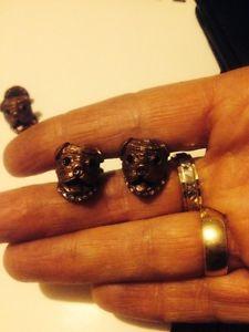 【送料無料】メンズアクセサリ― ロンドンデザイナーモップカフリンクスブロンズlondon designer 3d pug dog,mops puppy head cufflinks ,bronze amp; crystals