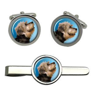 【送料無料】メンズアクセサリ― ダンディディンモントテリアカフスリンクネクタイピンセットdandie dinmont terrier dog round cufflink and tie clip set