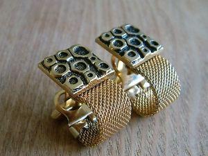 【送料無料】メンズアクセサリ― funky vintage large wraparound mesh cufflinks goldtonefunky vintage large wraparound mesh cufflinks goldtone