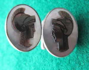 【送料無料】メンズアクセサリ― シルバーギリシャカフリンクス900 silver oval cufflinks with greek head